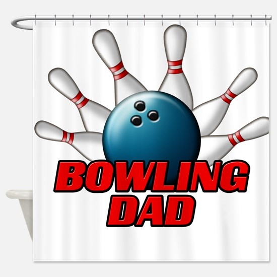 Bowling Dad (pins).png Shower Curtain