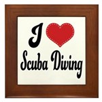 I Love Scuba Diving Framed Tile