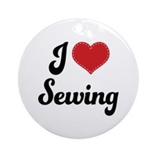 I Love Sewing Ornament (Round)