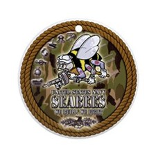USN Navy Seabees Camo Roped Ornament (Round)