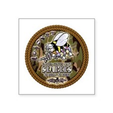 "USN Navy Seabees Camo Roped Square Sticker 3"" x 3"""