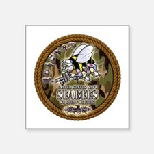 """USN Navy Seabees Camo Roped Square Sticker 3"""" x 3"""""""