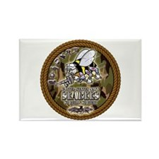 USN Navy Seabees Camo Roped Rectangle Magnet