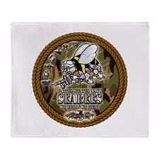 USN Navy Seabees Camo Roped Throw Blanket