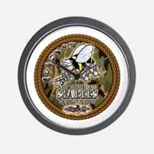 USN Navy Seabees Camo Roped Wall Clock
