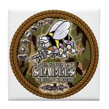 USN Navy Seabees Camo Roped Tile Coaster