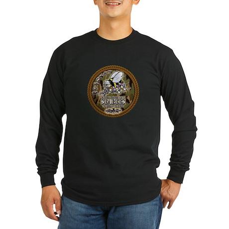 USN Navy Seabees Camo Roped Long Sleeve Dark T-Shi