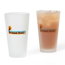 Savannah Beach GA - Beach Design. Drinking Glass