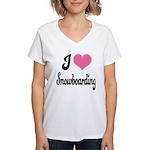 I Love Snowboarding Women's V-Neck T-Shirt