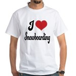 I Love Snowboarding White T-Shirt