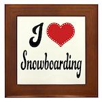 I Love Snowboarding Framed Tile