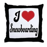 I Love Snowboarding Throw Pillow