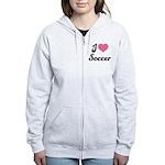 I Love Soccer Women's Zip Hoodie