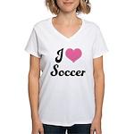 I Love Soccer Women's V-Neck T-Shirt