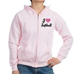 I Love Softball Women's Zip Hoodie