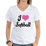 I Love Softball Women's V-Neck T-Shirt