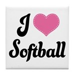 I Love Softball Tile Coaster