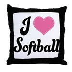 I Love Softball Throw Pillow