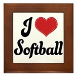I Love Softball Framed Tile