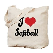 I Love Softball Tote Bag