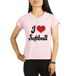 I Love Softball Performance Dry T-Shirt