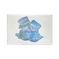 Snowman Couple (blue) Rectangle Magnet (100 pack)