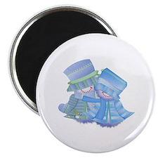 Snowman Couple (blue) Magnet