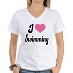I Love Swimming Women's V-Neck T-Shirt