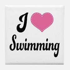 I Love Swimming Tile Coaster