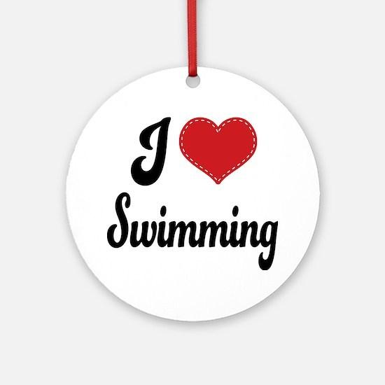 I Love Swimming Ornament (Round)