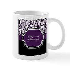 Customizable Purple Damask Small Small Mug