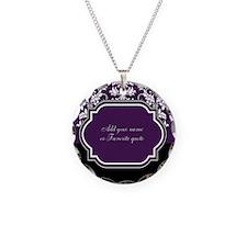 Customizable Purple Damask Necklace