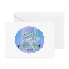Snowgirl (blue) Greeting Cards (Pk of 10)