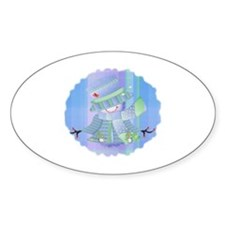 Snowgirl (blue) Oval Decal