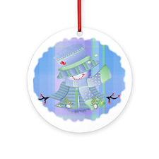 Snowgirl (blue) Ornament (Round)