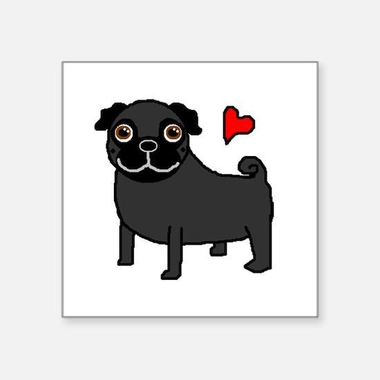 "PugBlack.bmp Square Sticker 3"" x 3"""
