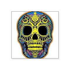 Colorful skull Square Sticker 3