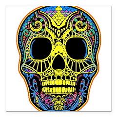 Colorful skull Square Car Magnet 3