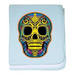 Colorful skull baby blanket