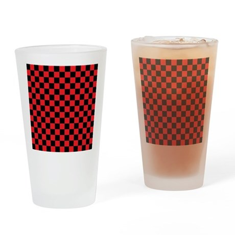 Large Simple Check Drinking Glass