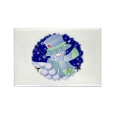 Snowgirl (snowballs) Rectangle Magnet