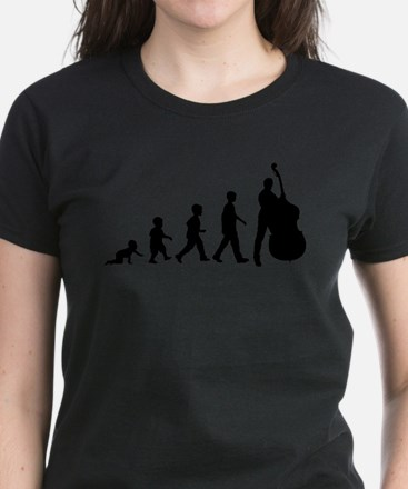 Double Bassist Evolution Women's Dark T-Shirt