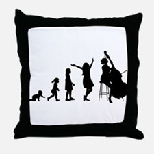Double Bassist Evolution Throw Pillow
