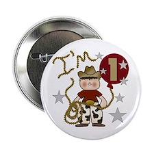 Cowboy First Birthday Button