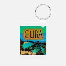 cuba beach art illustration Keychains