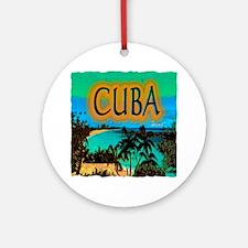 cuba beach art illustration Ornament (Round)