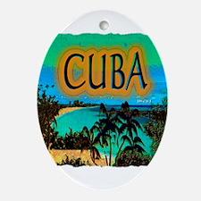 cuba beach art illustration Ornament (Oval)