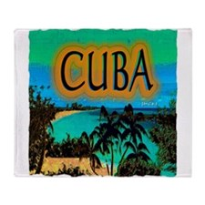 cuba beach art illustration Throw Blanket