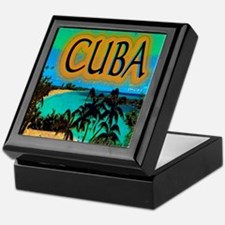 cuba beach art illustration Keepsake Box
