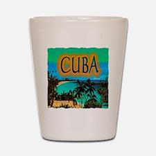 cuba beach art illustration Shot Glass
